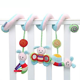 Cute Bee Insect Pram Crib Toy With Sound Box Mirror Bell Sound Paper Lovely Baby Spiral Toy Plush Activity Spiral