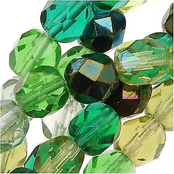 Czech Fire Polished Glass Beads 6mm Round 'Ever Green Mix' (50)