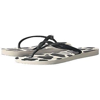 Sandalias de chancla delgadas para mujer Havaianas, estampado animal, blanco/negro, 41/42 BR (11-12 M EE.UU.)