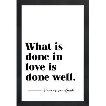 JUNIQE Print - Done in Love - Typografia & Symbole Plakat w kolorze czarnym & białym