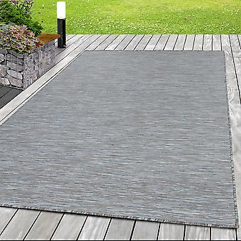 Sisal Optik Teppich Indoor Outdoor außen Flachgewebe Uni Grau Beige meliert
