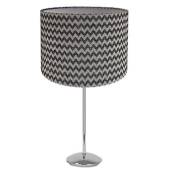 """Modern Chrome Plated Stick Table Lamp with 12"""" Zig-Zag Cotton Shade"""