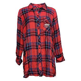 Coleção Tolani Feminino Top Regular Plaid Tunic Print Back Vermelho A383438