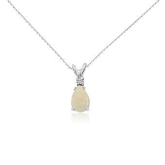 LXR 14k Vitt Guld 7X5 Opal Päron och Diamant hänge 0.35ct