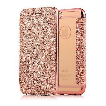 Samsung Galaxy J5 brillante Flip Flip Funda de la caja con ranura para tarjeta - oro rosa