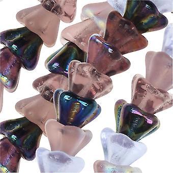 الخرز الزجاجي التشيكي، زهرة 6x8mm، 1 ستراند، أرجواني الليلك ميكس