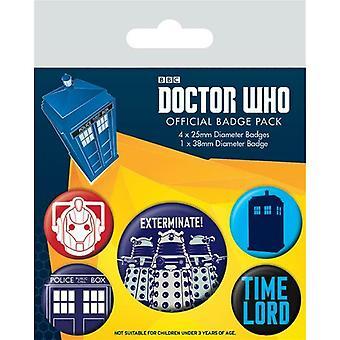 Doctor Who Exterminate Badge Set (5er Pack)