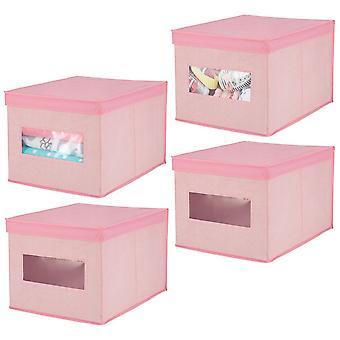 mDesign stapelbare stof kast opbergkast Organizer Box, Deksel, 4 Pack