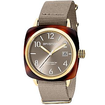 Briston 20240.pya.t.30.nt Ladies Clubmaster Classic 3 Hand Taupe Dial And Nato Strap Watch