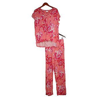 Aria Women's Jersey Floral Print Pajama Set w/ Satin Trim Pink 637146