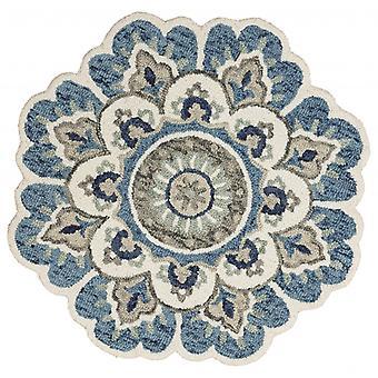 4' pyöreä sininen moderni kukka-alue matto