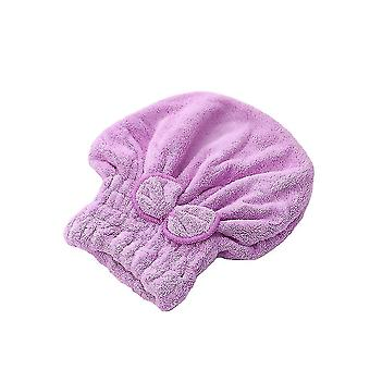 Bath towels washcloths hair drying towel head wrap with bow-knot shower cap for drying hair 25x30x3cm purple