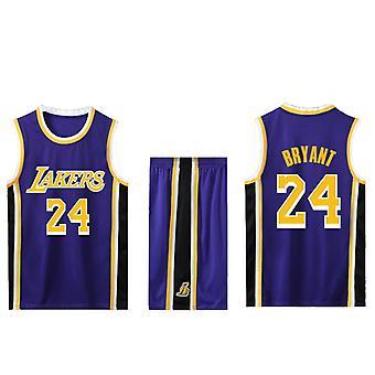 Kobe Bryant Basketball Trikot Nr.24 /Lakers Trikot Set/lila Auswärts(Kindergröße)