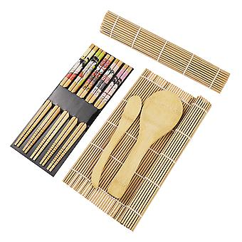 Bestonzon 15pcs Bamboo Sushi Making Kit With 2 Rolling Mats 5 Pairs Chopsticks Rice Paddle Rice Spreader Bamboo Sushi Maker Set