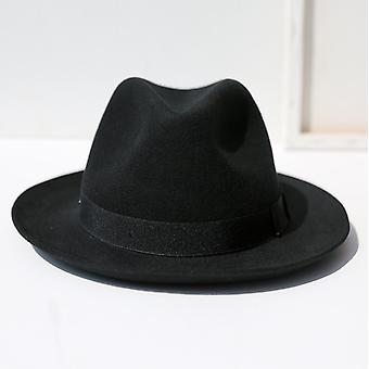 European And American New Hat Black Felt Hat Autumn And Winter Men's And Women's British Top Hat Jazz Hat