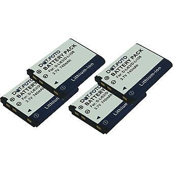 4 x Dot.Foto Pentax D-LI63, D-LI108 erstatningsbatteriet - 3,7 v / 740mAh