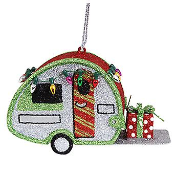 Glittered Up Travel Camper Metal Christmas Holiday Ornament