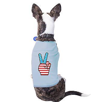 قميص يوم الاستقلال تي توقيع السلام العلم الأمريكي للكلاب الصغيرة