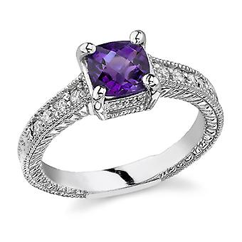 Art Deco Diamond and Amethyst Ring, 14K White Gold