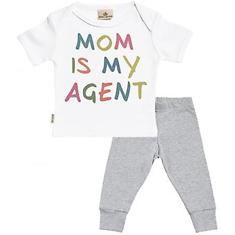 Spoilt Rotten Mom Is My Agent Baby T-Shirt & Baby Jersey Trousers Outfit Set