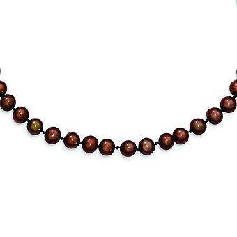 925 Sterling Silber Perle Verschluss 6 7mm braun Süßwasser kultiviert Eschrift Halskette Schmuck Geschenke für Frauen - Länge: 16 bis 2