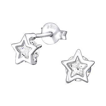 Star - 925 Sterling Silver Cubic Zirconia Ear Studs - W32072X