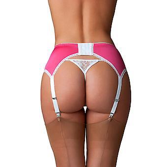 Nylon Dreams NDL66 Women's Pink Solid Colour Lace Garter Belt 6 Strap Suspender Belt