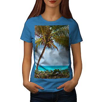 Palm Ocean Photo Nature Women Royal BlueT-shirt | Wellcoda
