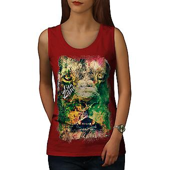 Lion Zion Cat Face Women RedTank Top | Wellcoda