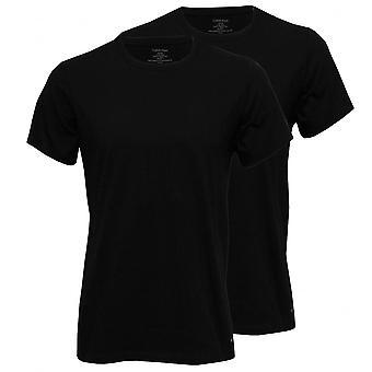 Calvin Klein 2-Pack czystej bawełny ściągacz wokół szyi koszulki, czarny