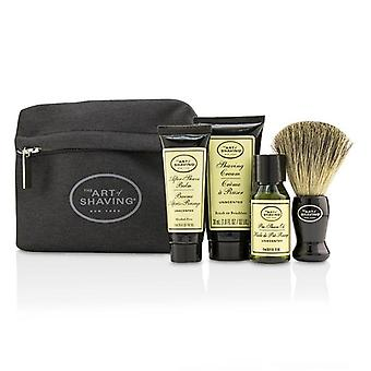 Starter Kit - Unscented: Pre Shave Oil + Shaving Cream + After Shave Balm + Brush + Bag - 4pcs + 1 Bag