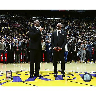 Magic Johnson & Kobe Bryant during Bryants jersey retirement ceremony on December 18 2017 at STAPLES Center in Los Angeles California Photo Print