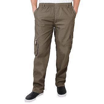 KRISP Herre Army Cargo bekæmpe militære bukser bukser plain casual arbejde talje 28