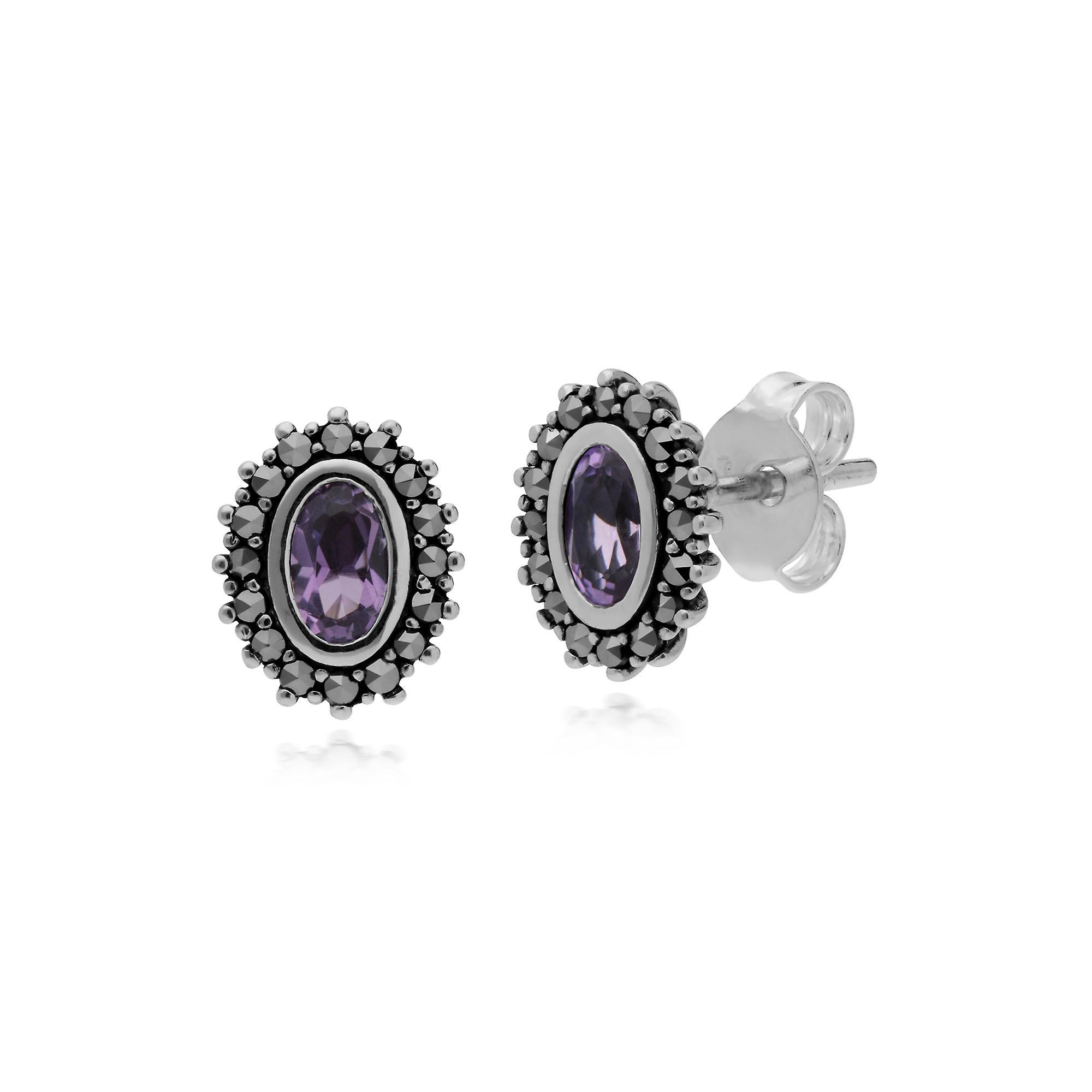 Gemondo Sterling Silver Amethyst & Marcasite February Art Nouveau Stud Earrings
