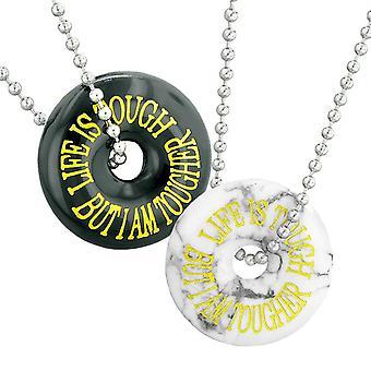 Das Leben ist hart, aber ich bin härter Beste Freunde oder Paare Amulette White Howlith Schwarz Achat Halsketten