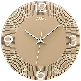 Wall clock quartz analog Brown round glass mirror optics quietly without ticking ø 30 cm