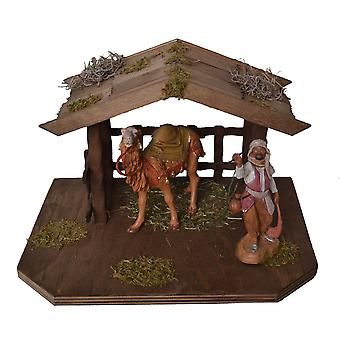 Was stable with camel and driver for Nativity crib accessories stable