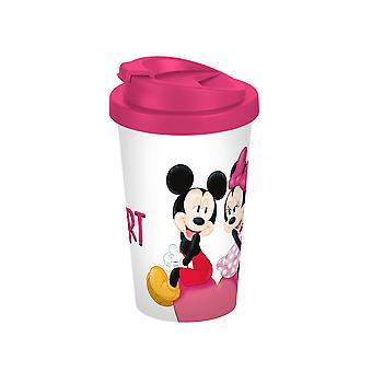 Disney Mickey & Minnie café para llevar mi blanco corazón Rosa taza, 400ml, doble pared, de plástico (PP).