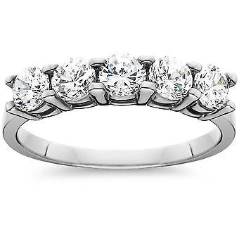 Platinum 1 ct Five Stone Diamond Wedding Ring