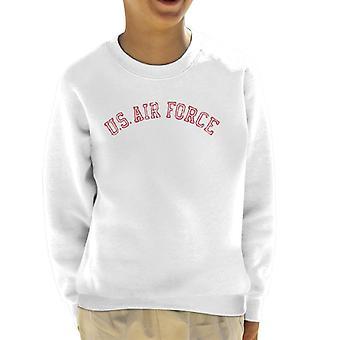 US Airforce Training Red Text Distressed Kid's Sweatshirt