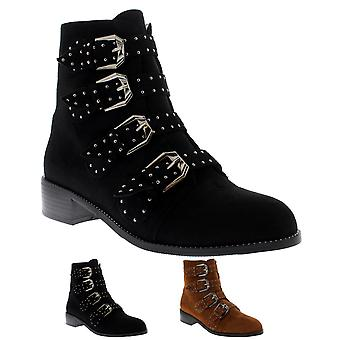 Womens Strappy Block Heel Combat Army Military Punk Retro Ankle Boots UK 3-10