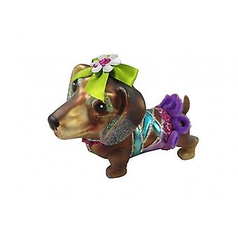 Gisela Graham Glass Dachshund Collectable julepynt