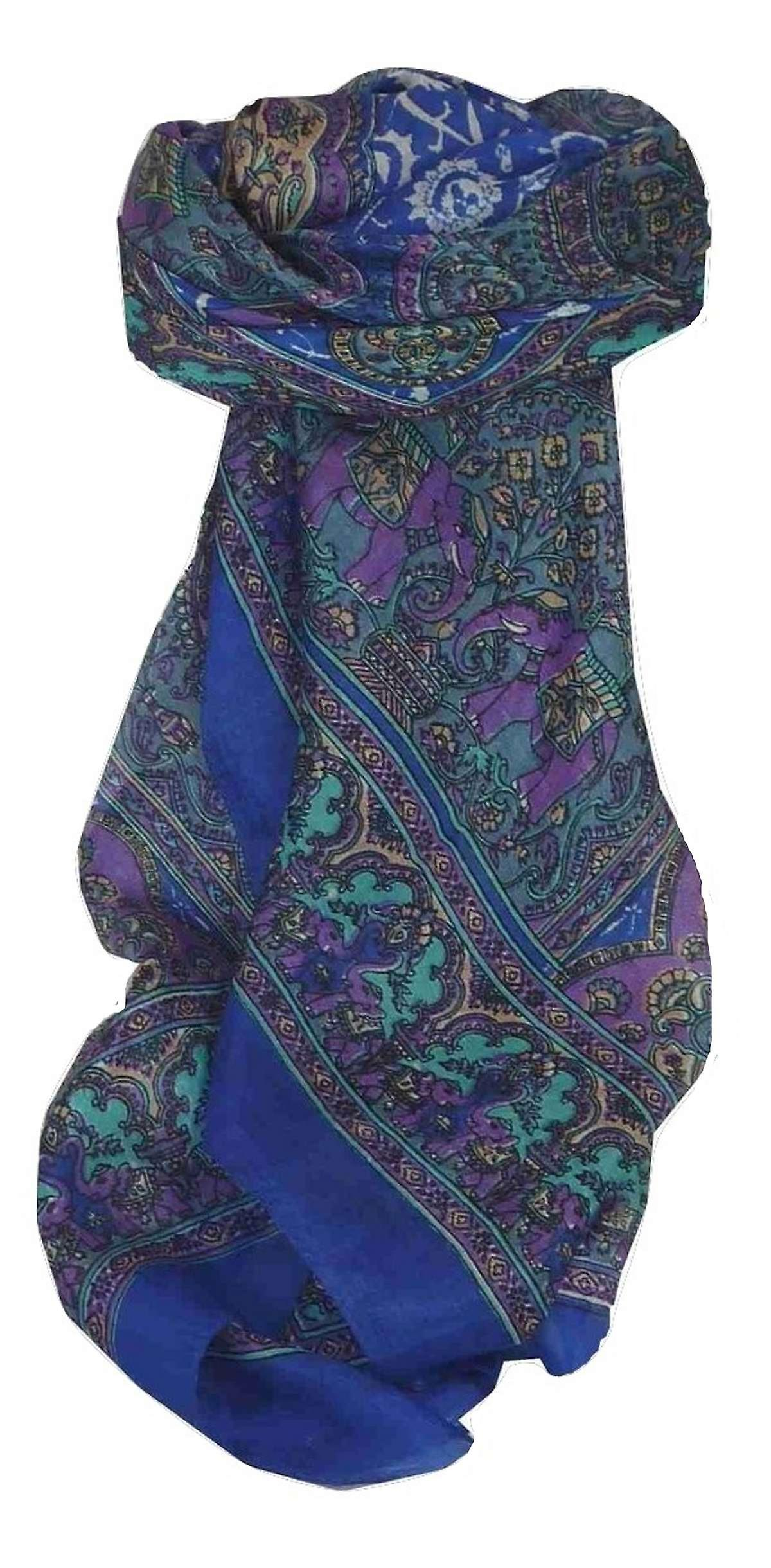 Mulberry Silk Traditional Square Scarf Ravali Blue by Pashmina & Silk