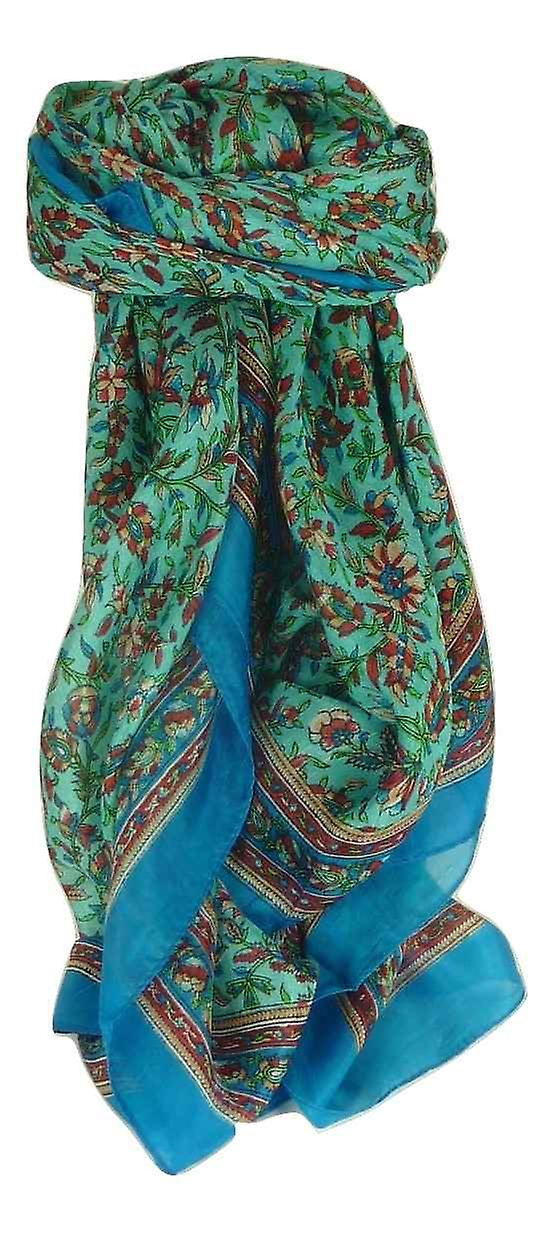 Mulberry Silk Traditional Square Scarf Ulla Aquamarine by Pashmina & Silk