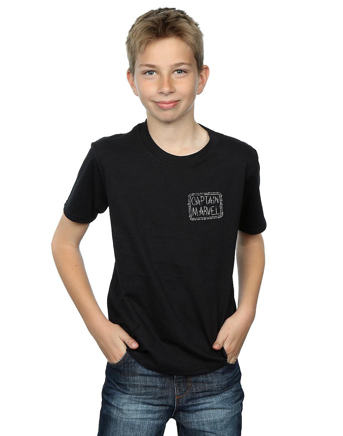 Marvel Boys Captain Marvel Breast Patch T-Shirt