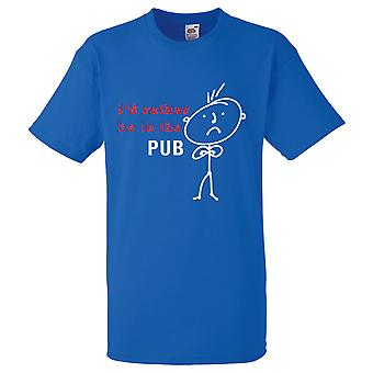 Mens I'd Rather Be In The Pub Royal Blue Tshirt