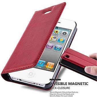 Cadorabo Hülle für Apple iPhone 4 / iPhone 4S Case Cover - Handyhülle mit Magnetverschluss, Standfunktion und Kartenfach – Case Cover Schutzhülle Etui Tasche Book Klapp Style