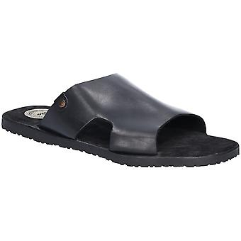 Base London Mens Arena Waxy Slip On Leather Slider Sandals