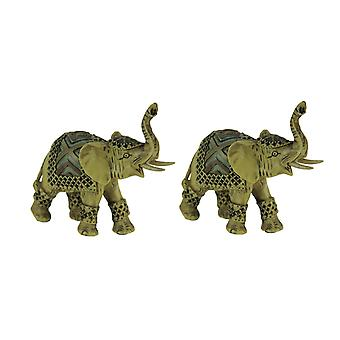 Off-White Faux Carved Decorated Elephant Statue Small Set of 2