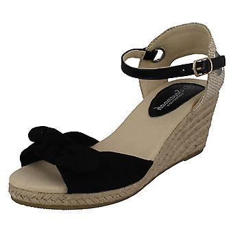 Mesdames Savannah milieu corde Wedge Sandals F10889